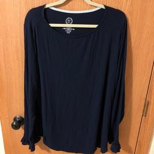 Maurice's Navy Long Sleeve with Ruffle
